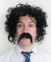 Chris Kamara Style Wet Look Afro Wig and Moustache